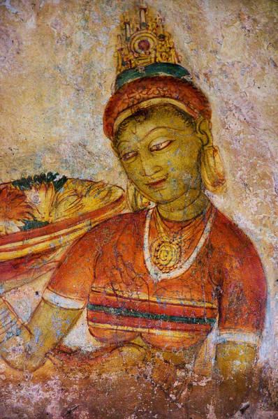 Golden Princess Photograph - Apsara With Flowers. Sigiriya Cave Painting by Jenny Rainbow