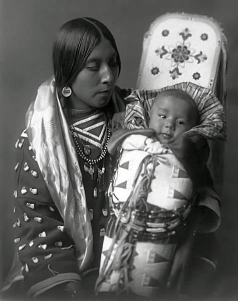 Wall Art - Photograph - Apsaroke Woman And Baby  1908 by Daniel Hagerman