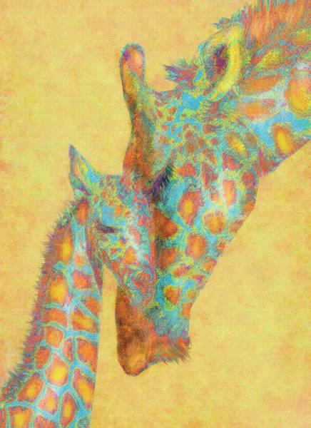 Baby Digital Art - Aqua And Orange Giraffes by Jane Schnetlage