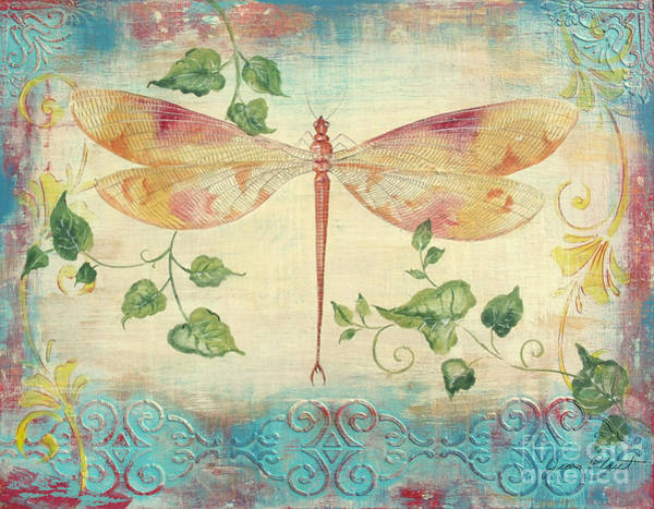 Emboss Wall Art - Painting - Aqua Dragonfly by Jean Plout