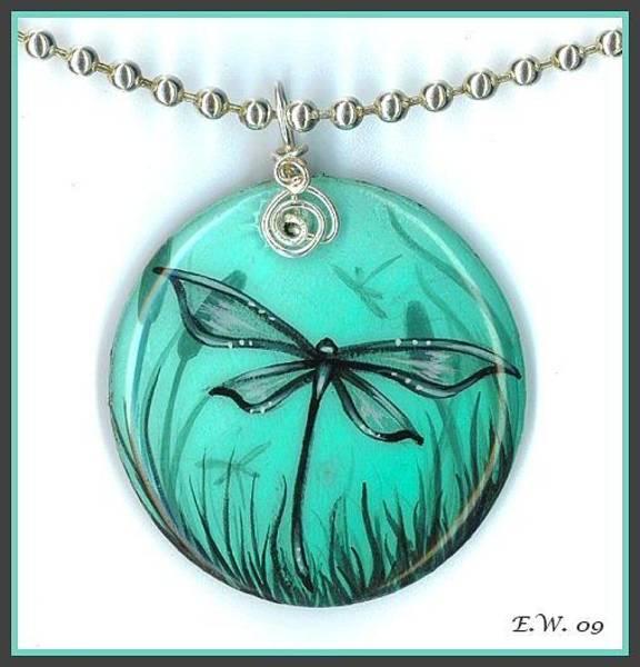 Pendant Painting - Aqua Dragonfly Pendant by Elaina  Wagner