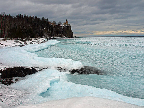 Photograph - Aqua Ice At Split Rock Lighthouse by James Peterson