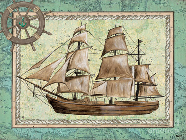 Tall Ships Wall Art - Painting - Aqua Maritime 1 by Debbie DeWitt