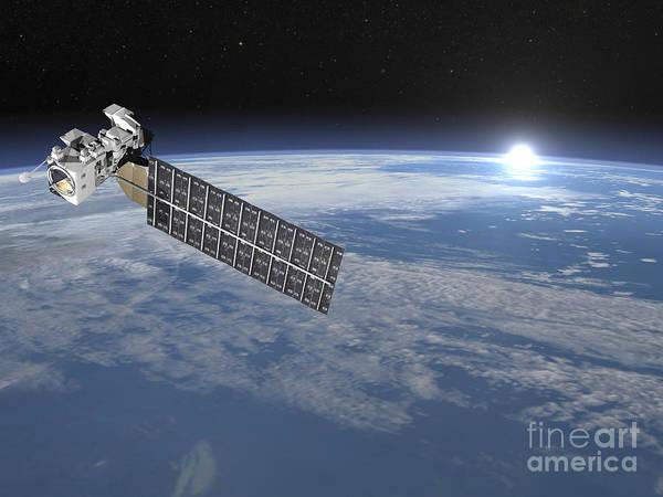Aqua Satellite Digital Art - Aqua Satellite Orbiting Earth by Elena Duvernay