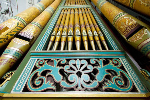 Photograph - Aqua To Gold Organ Pipes by Jenny Setchell