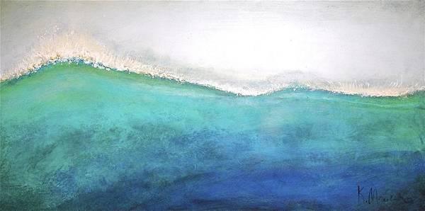 Painting - Aqua Wave Crest 2x4 by Kaata    Mrachek