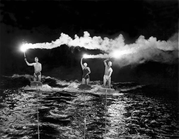 Watersports Photograph - Aquaplaning By Fiery Night by Underwood Archives