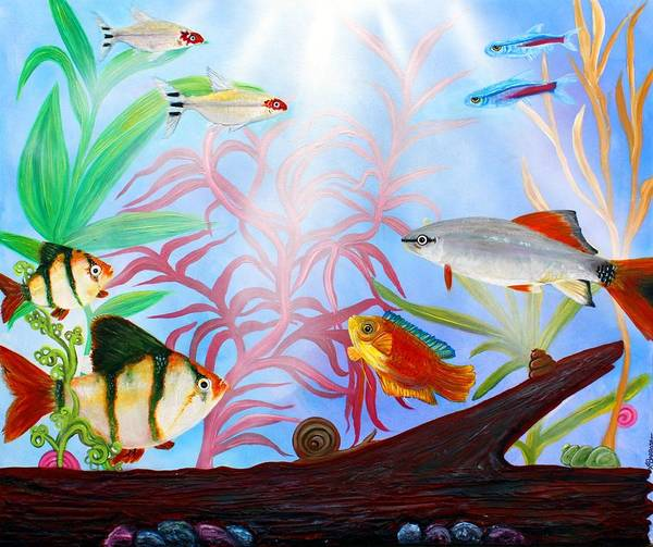 Wall Art - Painting - Aquarium by Laura Barbosa