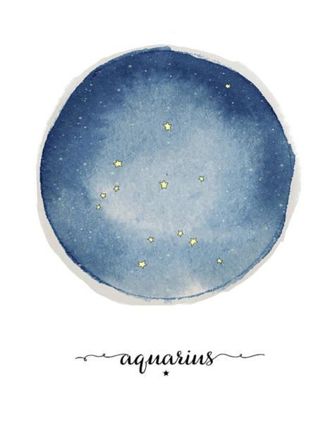 Zodiac Wall Art - Painting - Aquarius Circle by Amy Cummings