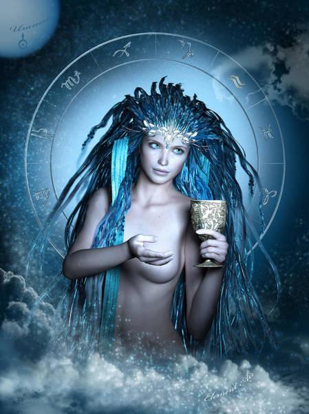 Wall Art - Digital Art - Aquarius Fantasy Zodiac by Britta Glodde