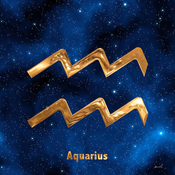 Signs Of The Zodiac Painting - Aquarius by The Art of Marsha Charlebois