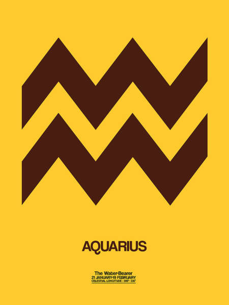 Taurus Digital Art - Aquarius Zodiac Sign Brown by Naxart Studio