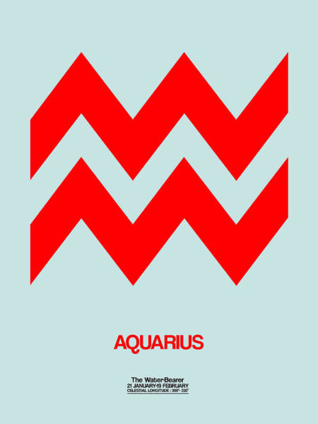 Taurus Digital Art - Aquarius Zodiac Sign Red by Naxart Studio