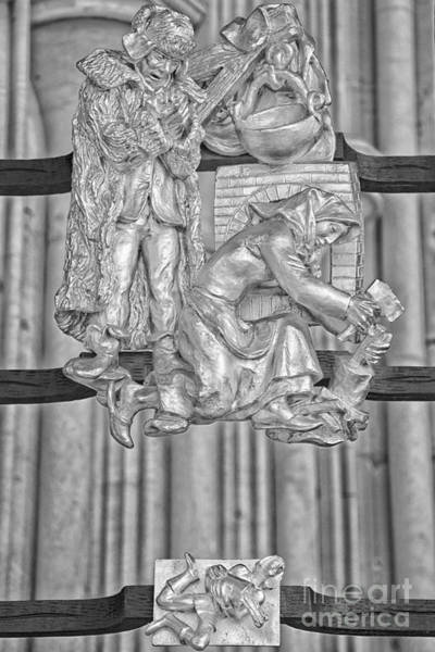Praha Wall Art - Photograph - Aquarius Zodiac Sign - St Vitus Cathedral - Prague - Black And White by Ian Monk