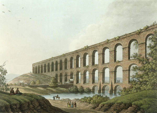 River Drawing - Aqueduct Near Belgrade, Serbia, Plate 6 by Luigi Mayer