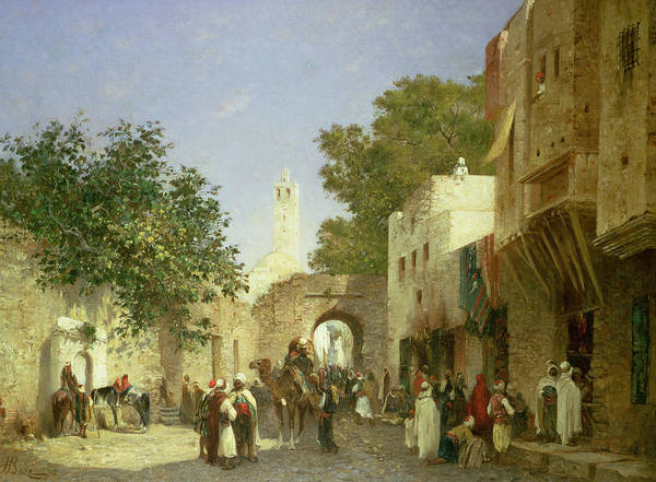 Medina Wall Art - Painting - Arab Street Scene by Honore Boze