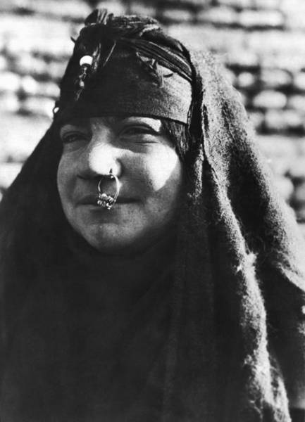 Body Piercing Photograph - Arab Woman With Nose Ring by Underwood Archives