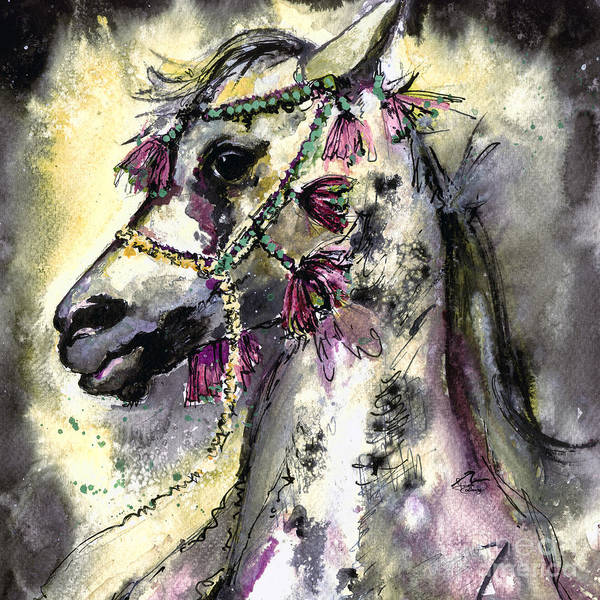 Painting - Arabian Horse With Headdress Square Format by Ginette Callaway