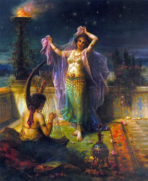 Harp Digital Art - Arabian Nights by Hans Zatzka