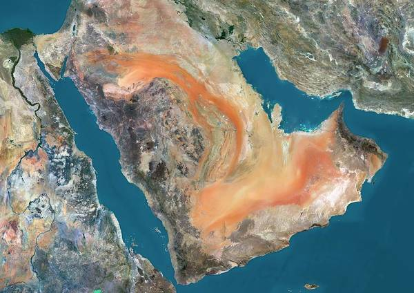 Cartography Photograph - Arabian Peninsula by Planetobserver/science Photo Library