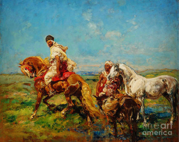Trimming Painting - Arabs At The Oasis by Celestial Images