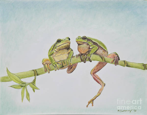 Art Print featuring the painting Arboreal Frogs In Pastel by Kate Sumners