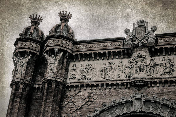 Photograph - Arc De Triomf Barcelona Detail Bw by Joan Carroll
