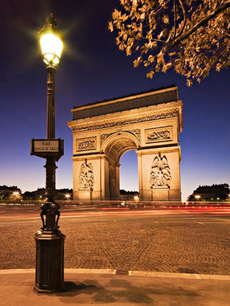 Photograph - Arc De Triomphe At Night / Paris by Barry O Carroll