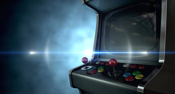 Controller Digital Art - Arcade Machine Dramatic View by Allan Swart