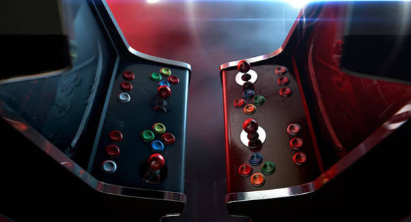 Versus Digital Art - Arcade Machine Opposing Duel by Allan Swart