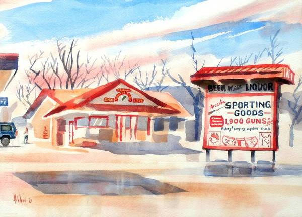 Wall Art - Painting - Arcadia Sporting Goods In Autumn Glow by Kip DeVore