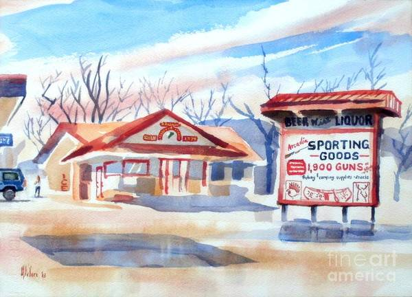 Wall Art - Painting - Arcadia Sporting Goods In Winter Blue by Kip DeVore