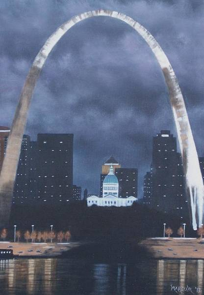 St Louis Arch Painting - Arch At Night by John Marcum