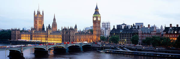 Houses Of Parliament Wall Art - Photograph - Arch Bridge Across A River, Westminster by Panoramic Images