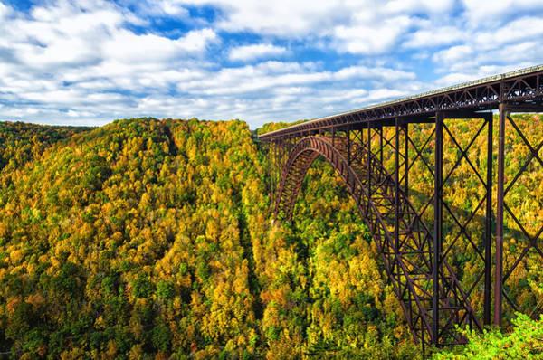 Wall Art - Photograph - Arch Bridge And Colorful Fall Foliage by Lori Coleman