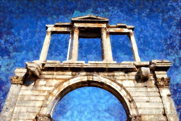 Gateway Arch Painting - Arch Of Hadrian by George Atsametakis