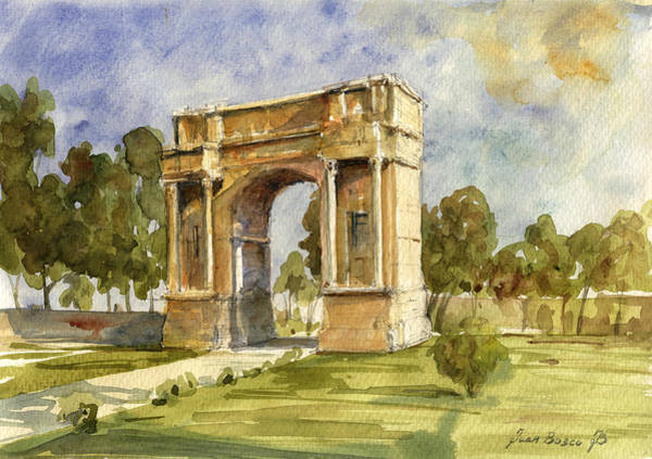Wall Art - Painting - Arch Triumphal Of Antonius Pius At Tunisia by Juan  Bosco