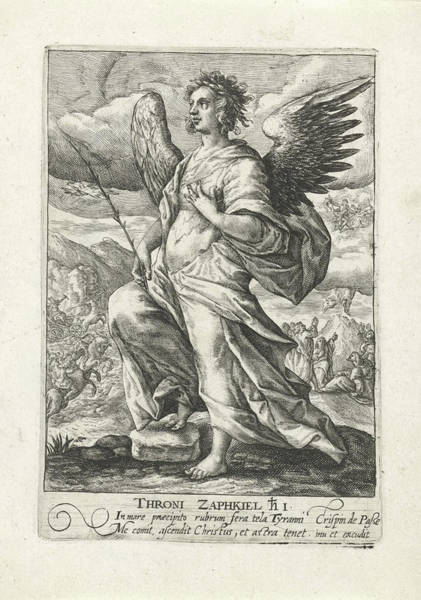 Wall Art - Drawing - Archangel Zaphkiël, Crispijn Van De Passe by Quint Lox