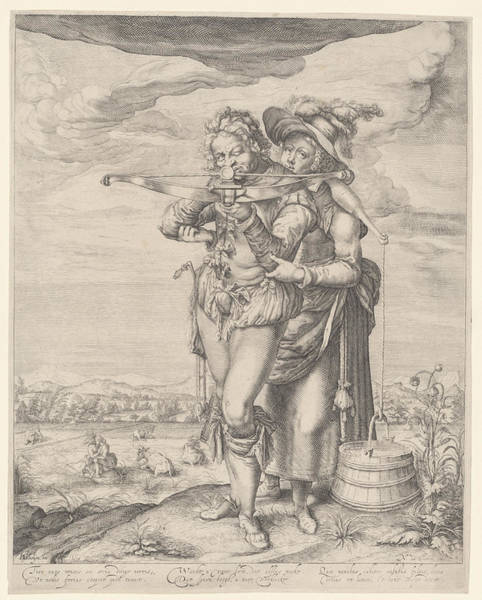 Target Drawing - Archer And Milkmaid, Nicolaes De Clerck by Nicolaes De Clerck