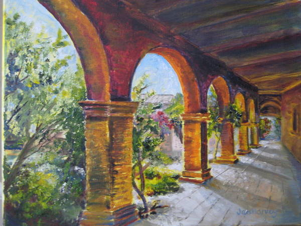 Wall Art - Painting - Arches At Mission Of Capistrano by Jan Harvey