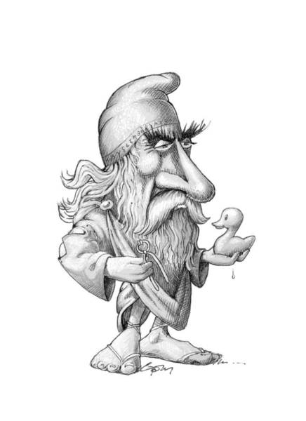 Photograph - Archimedes, Caricature by Science Photo Library