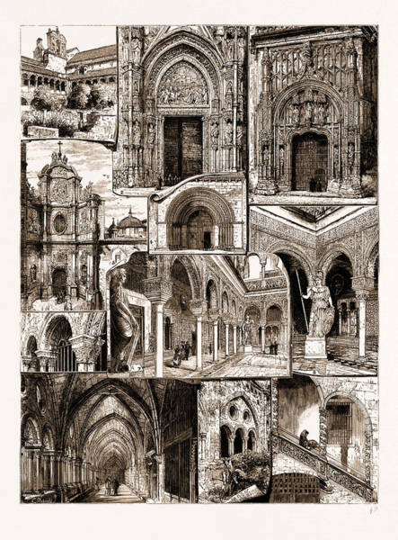 Pontius Pilate Wall Art - Drawing - Architectural Art In Spain, 1883 1. Ancient Convent Of San by Litz Collection