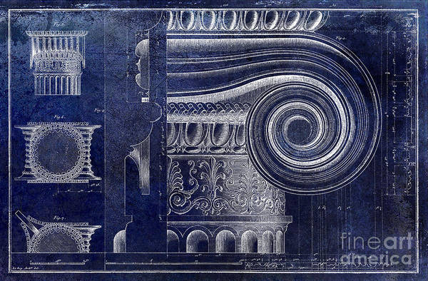 Wall Art - Drawing - Architectural Capital Blue by Jon Neidert