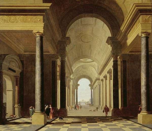 Portico Painting - Architectural Fantasy With Figures, 1638 by Gerrit Houckgeest