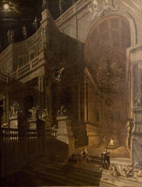 Baluster Wall Art - Painting - Architectural Fantasy With Figures by Stefano Orlandi