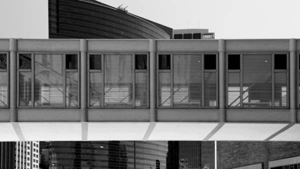 Photograph - Architectural Pattern Glass Bridge Black White by Patrick Malon