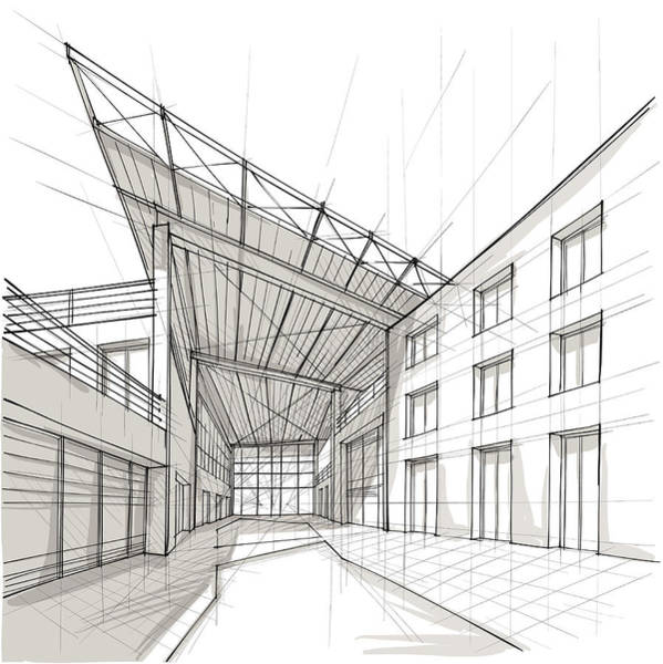 Pencil Drawing Digital Art - Architecture by Sireanko