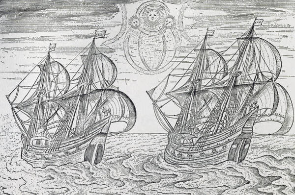 Sixteenth Wall Art - Drawing - Arctic Phenomena From Gerrit De Veer S Description Of His Voyages Amsterdam 1600 by Netherlandish School