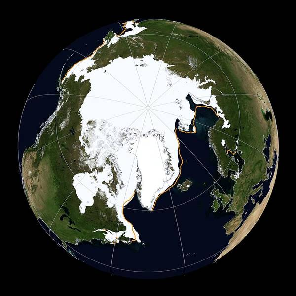 Earth Observation Wall Art - Photograph - Arctic Sea Ice Maximum by National Snow And Ice Data Center