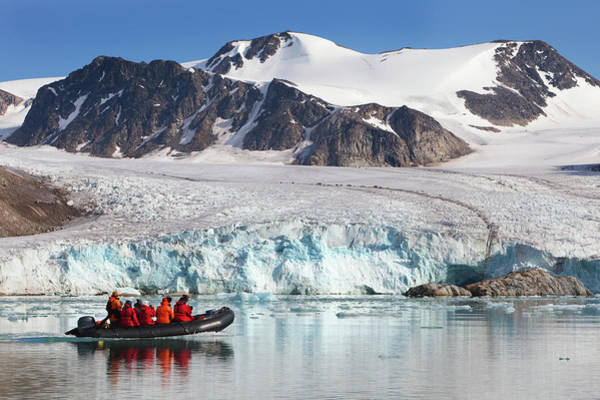 Raft Photograph - Arctic Tourists Cruising Glacier In by Anna Henly